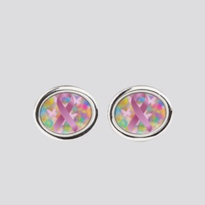 Pink Awareness Ribbon Oval Cufflinks