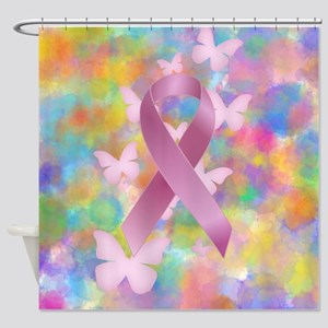 Pink Awareness Ribbon Shower Curtain