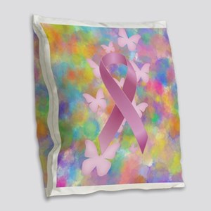 Pink Awareness Ribbon Burlap Throw Pillow