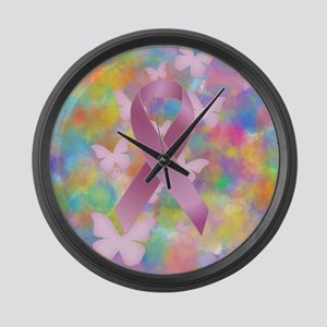 Pink Awareness Ribbon Large Wall Clock