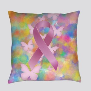 Pink Awareness Ribbon Everyday Pillow