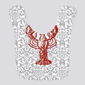 gray damask red lobster Bib