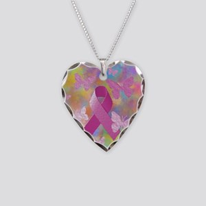 Breast Cancer Awareness Necklace Heart Charm