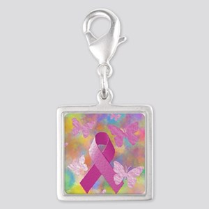 Breast Cancer Awareness Silver Square Charm