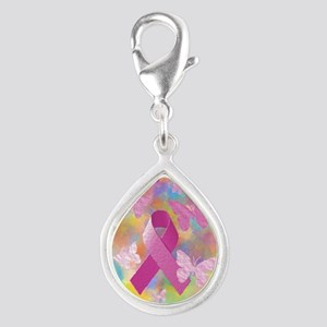 Breast Cancer Awareness Silver Teardrop Charm