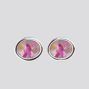 Breast Cancer Awareness Oval Cufflinks