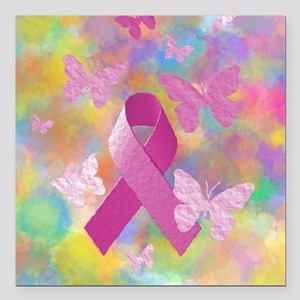 "Breast Cancer Awareness Square Car Magnet 3"" x 3"""