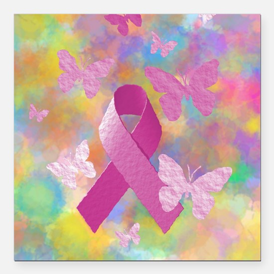 """Breast Cancer Awareness Square Car Magnet 3"""" x 3"""""""