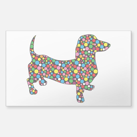 Dachshund Polka Dots Sticker (Rectangle)