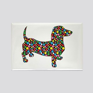 Dachshund Polka Dots Rectangle Magnet