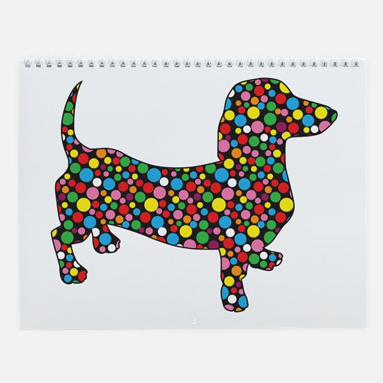 Dachshund Polka Dots Wall Calendar