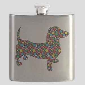 Dachshund Polka Dots Flask