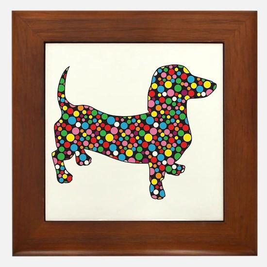 Dachshund Polka Dots Framed Tile