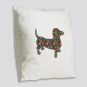 Dachshund Polka Dots Burlap Throw Pillow