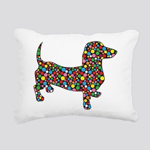 Dachshund Polka Dots Rectangular Canvas Pillow