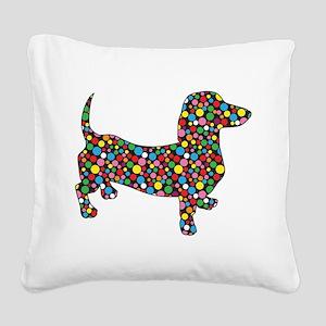 Dachshund Polka Dots Square Canvas Pillow