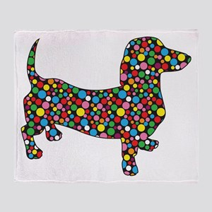 Dachshund Polka Dots Throw Blanket