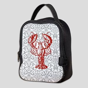 gray damask red lobster Neoprene Lunch Bag