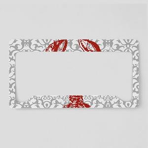 gray damask red lobster License Plate Holder