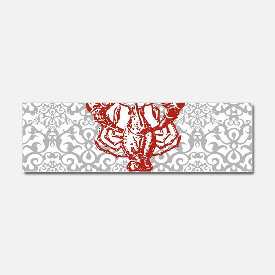 gray damask red lobster Car Magnet 10 x 3