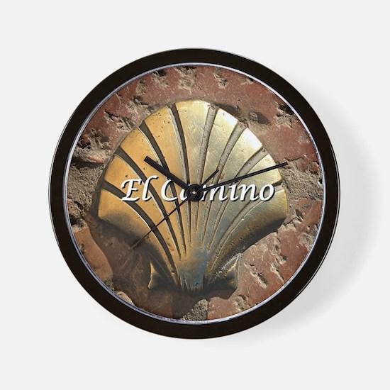 El Camino gold shell, Leon,Spain (capti Wall Clock