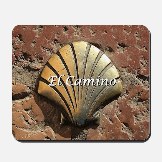 El Camino gold shell, Leon,Spain (captio Mousepad