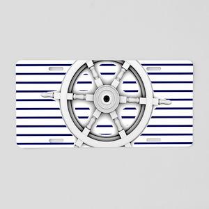 ship wheel blue nautical st Aluminum License Plate