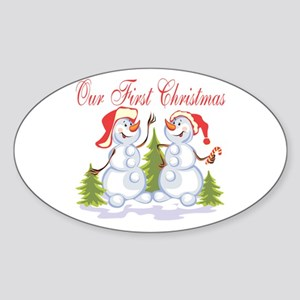 Our First Christmas (Snowmen) Oval Sticker