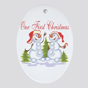 Our First Christmas (Snowmen) Oval Ornament