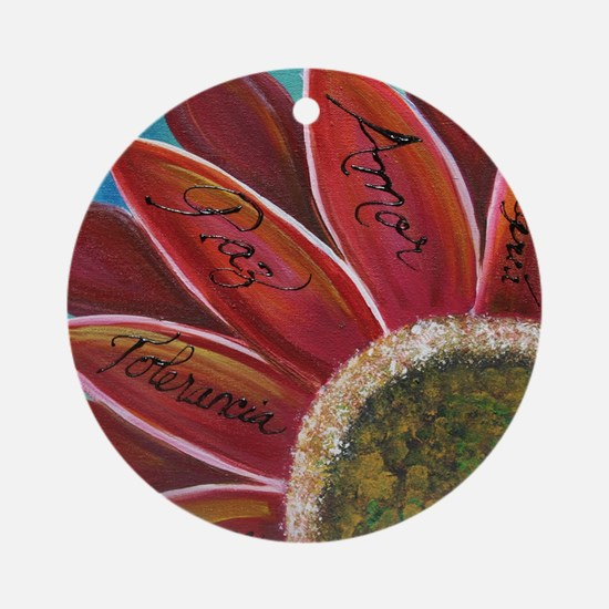 flower with positive words Round Ornament