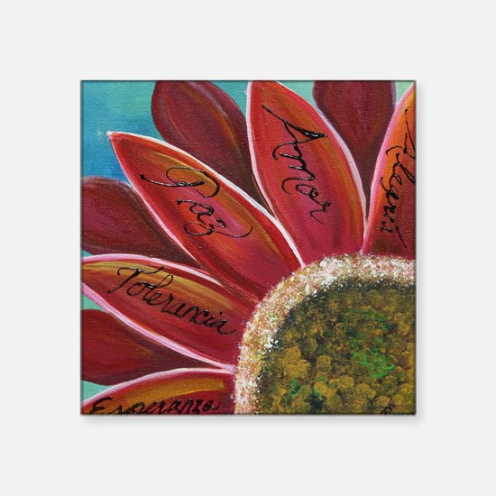"""flower with positive words Square Sticker 3"""" x 3"""""""