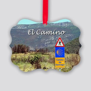 El Camino sign, Spain (caption) Picture Ornament