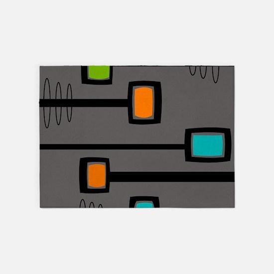 Mid-Century Abstract Art 5'x7'Area Rug