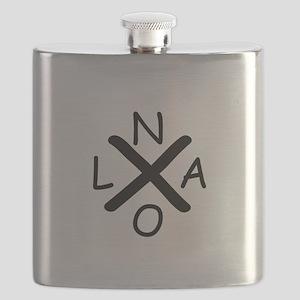 Hurrican Katrina X NOLA black font Flask