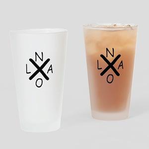 Hurrican Katrina X NOLA black font Drinking Glass