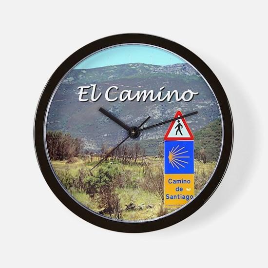El Camino sign, Spain (caption) Wall Clock