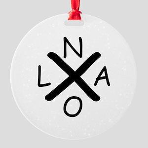 Hurrican Katrina X NOLA black font Round Ornament