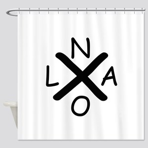 Hurrican Katrina X NOLA black font Shower Curtain