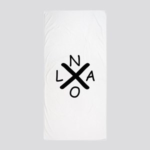 Hurrican Katrina X NOLA black font Beach Towel
