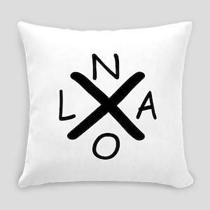 Hurrican Katrina X NOLA black font Everyday Pillow
