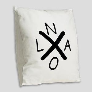 Hurrican Katrina X NOLA black Burlap Throw Pillow
