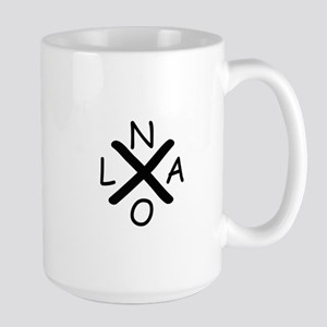 Hurrican Katrina X NOLA black font Mugs