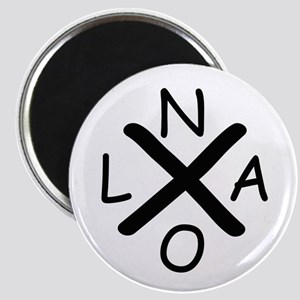 Hurrican Katrina X NOLA black font Magnets