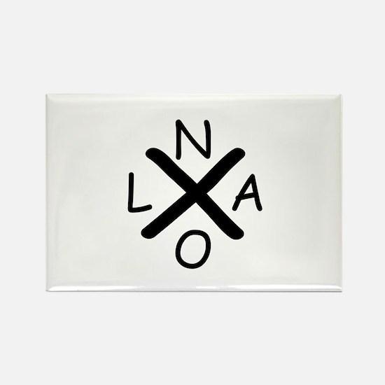 Hurrican Katrina X NOLA black font Magnets