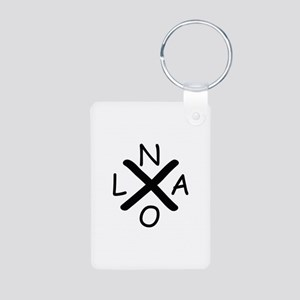 Hurrican Katrina X NOLA black font Keychains