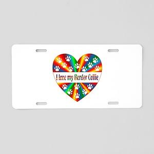 Border Collie Love Aluminum License Plate