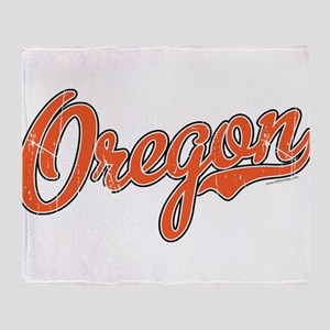 Oregon Script Font Orange Throw Blanket