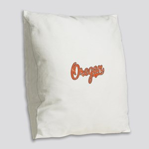 Oregon Script Font Orange Burlap Throw Pillow