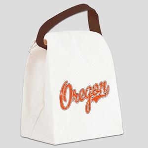 Oregon Script Font Orange Canvas Lunch Bag
