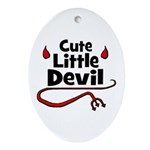 Cute Little Devil Oval Ornament